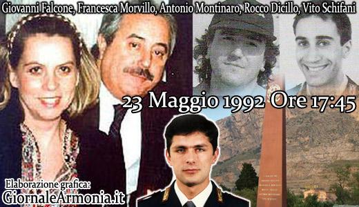 Giovanni Falcone, Francesca Morvillo,  Vito Schifani, Rocco Dicillo,Antonio Montinaro,  23 Maggio 1993 Ore 17:45