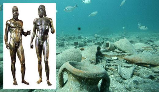 Ritrovati nel Mar Ionio una scultura in bronzo e un armatura