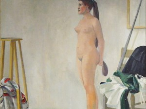 Pittore e modella_1958_olio su tela applicata su tavola_191,5 x 184,5