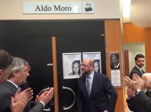Parlamento Europeo intitola sala a Aldo Moro, On.Gero Grassi  Aldo Moro è uno dei grandi d'Europa, a Bruxelles rappresenta l'Italia migliore.