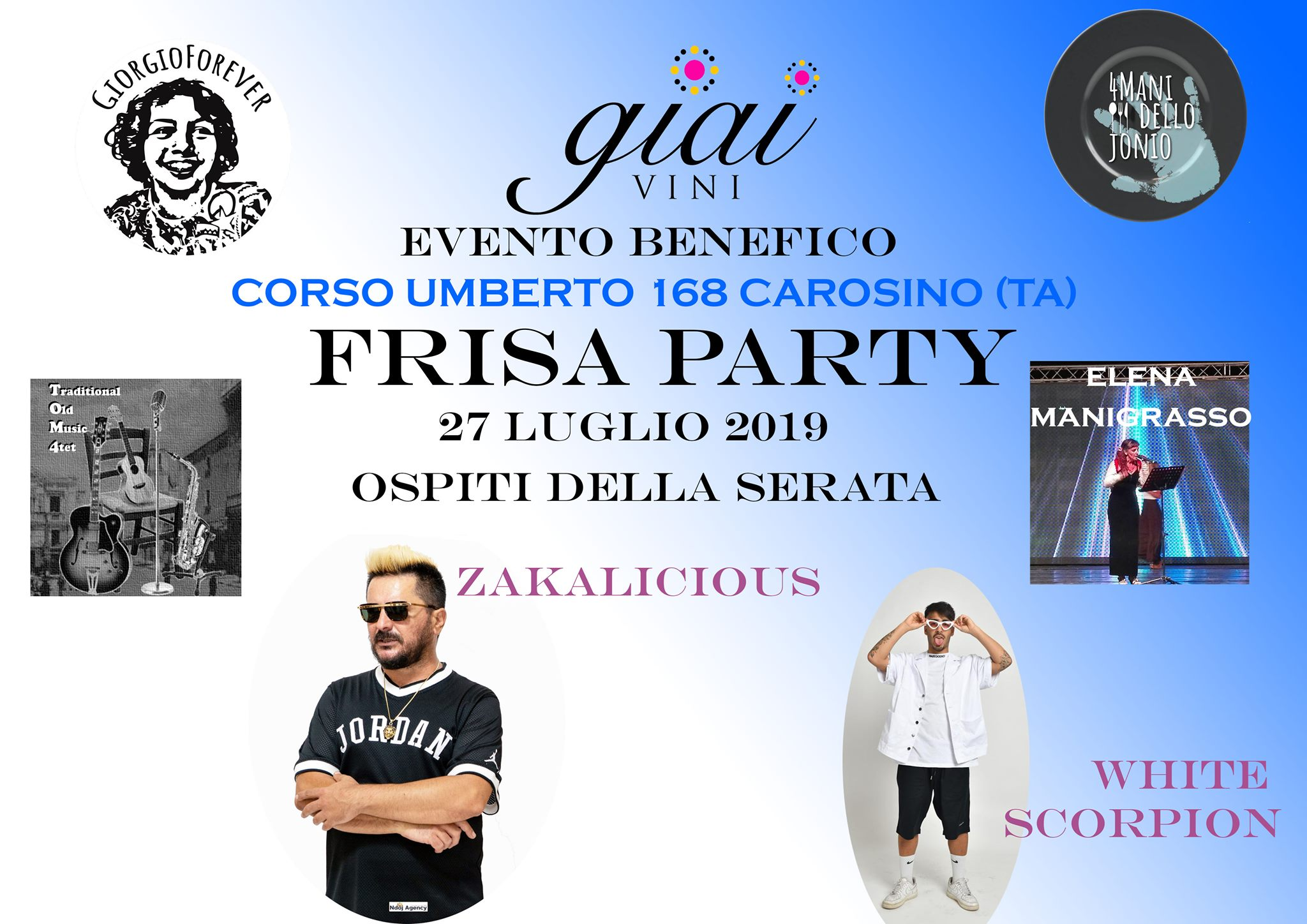 GIAI FRISA PARTY 27 LUGLIO CAROSINO EVENTO BENEFICO