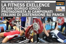 LA FITNESS EXELLENCE DI SAN GIORGIO JONICO PROTAGONISTA AI CAMPIONATI ITALIANI DI DISTENSIONE SU PANCA