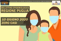 10 GIUGNO 2020 - BOLLETTINO EPIDEMIOLOGICO REGIONE PUGLIA