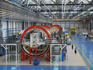 787 fuselage panel in Alenia Aermacchi Grottaglie plant